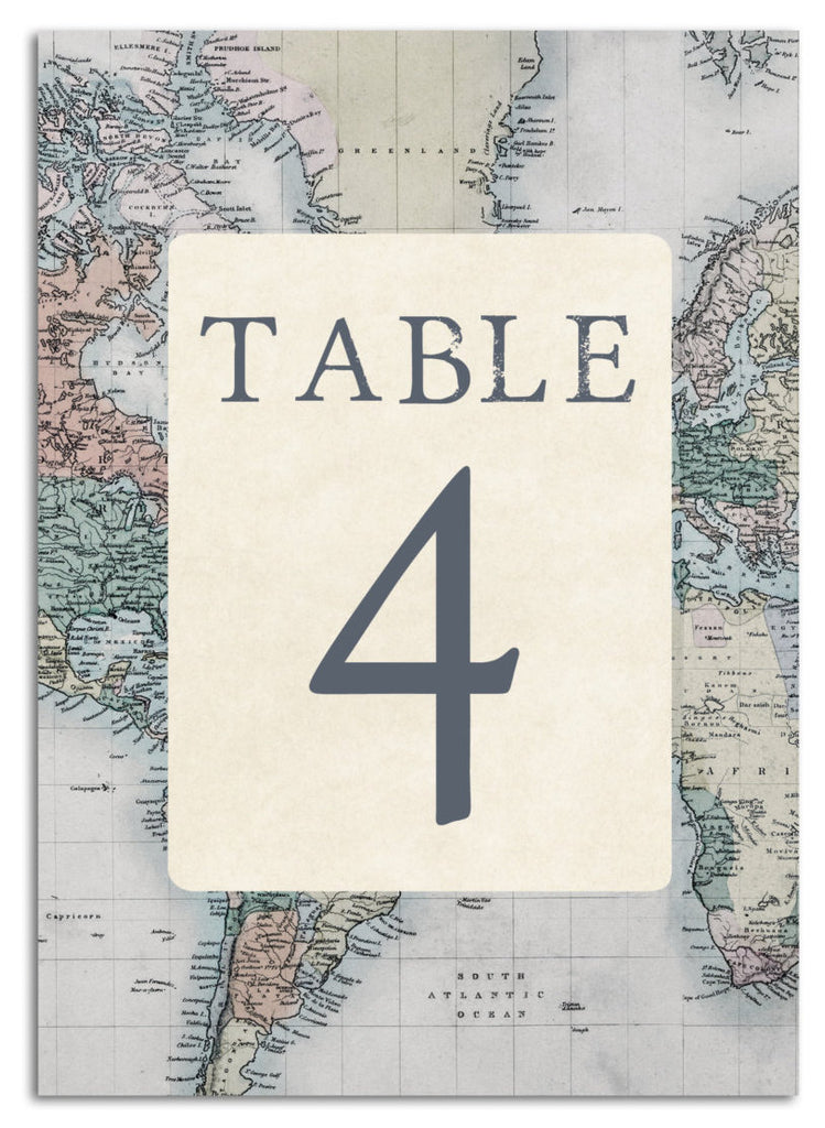 Travel-themed table numbers | Ways to Use Maps and Globes in Your Wedding Decor