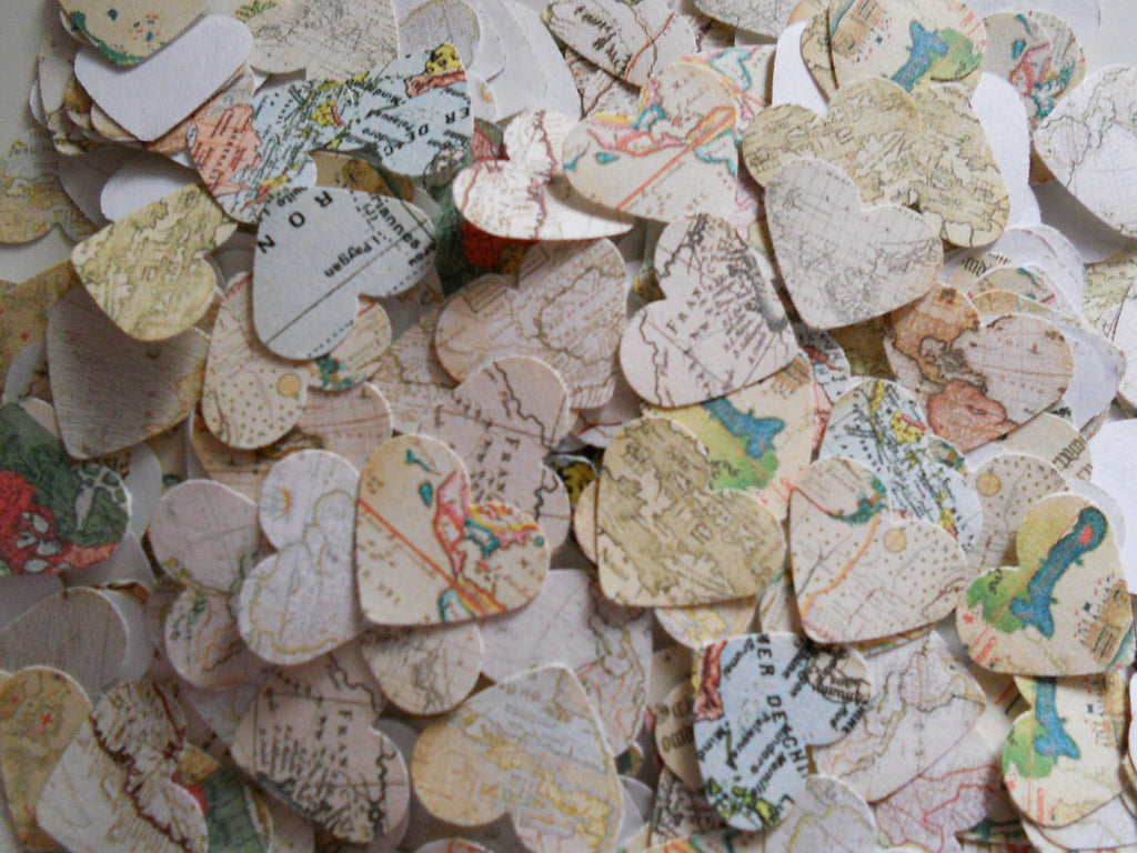 Atlas confetti | Ways to Use Maps and Globes in Your Wedding Decor
