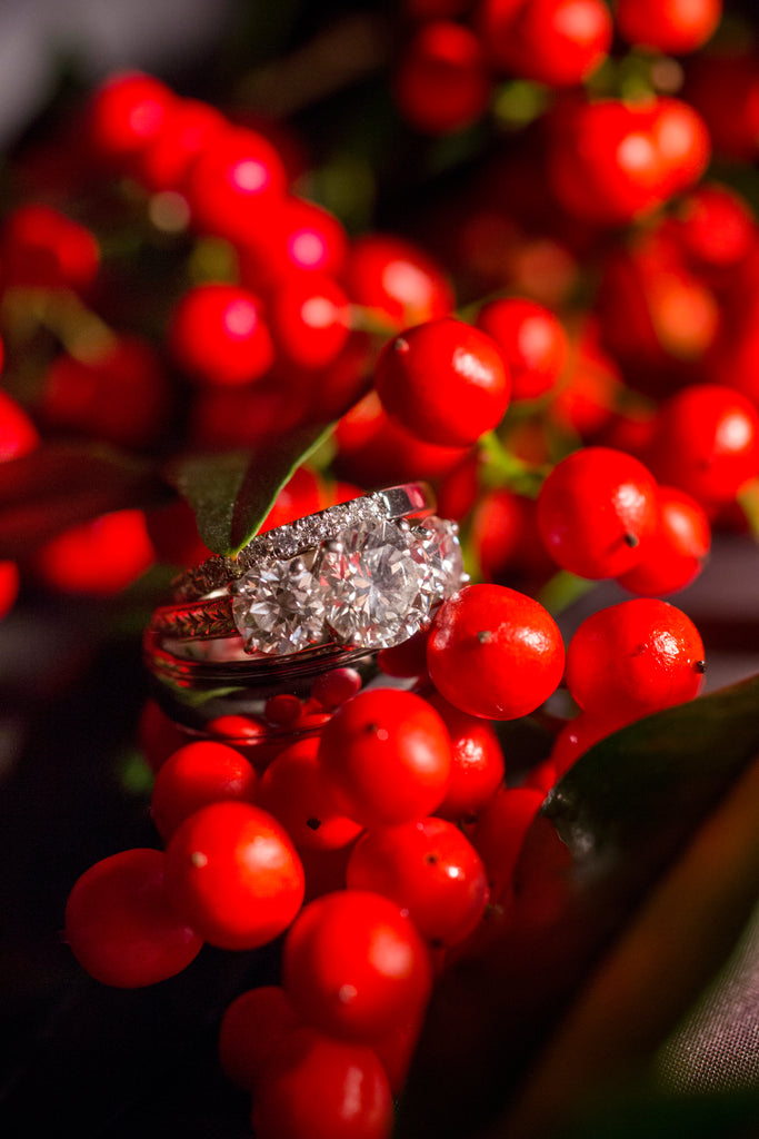 This bride received a gorgeous family heirloom engagement ring. | A Romantic Winter-Themed Wedding