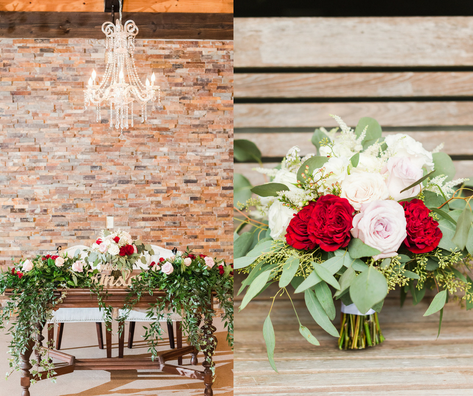 red and pink wedding florals