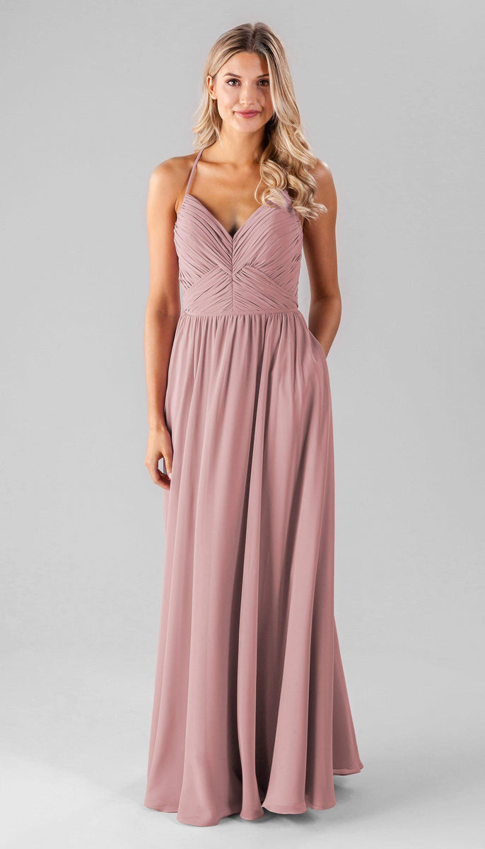 Luxe Chiffon Bridesmaid Dress with Off the Shoulder Cap