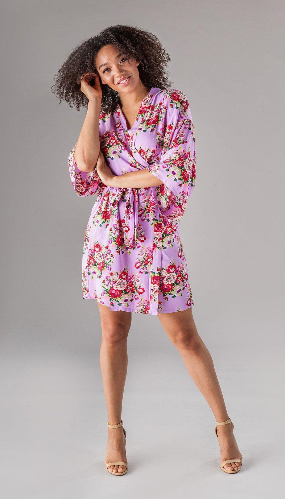 Floral Bridesmaid Robe Kennedy Blue