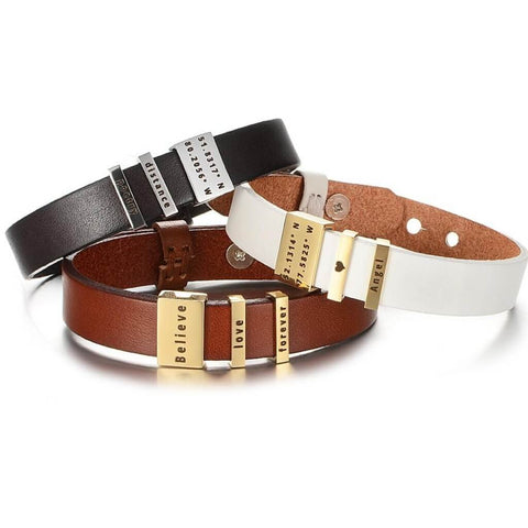 3 leather coordinates bracelets in a stack - Our Coordinates