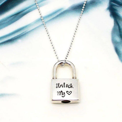 Padlock pendant necklace with custom engraving by OurCoordinates