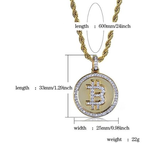 diamond bitcoin pendant with gold rope chain - OurCoordinates