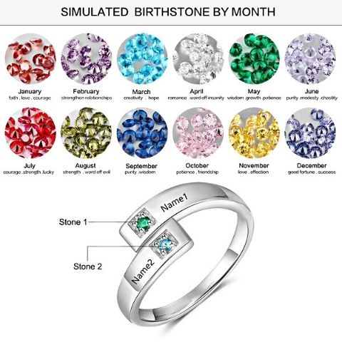 engraved birthstone ring - OurCoordinates
