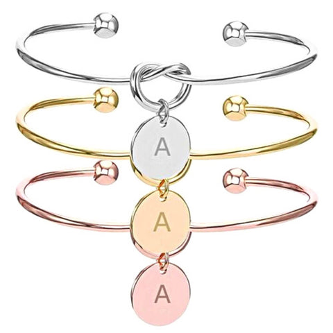 knot cuff bracelet with engraved letter charm - OurCoordinates