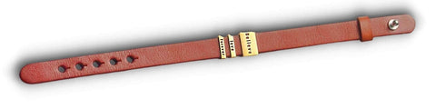 three engraved gold plates on brown leather bracelet
