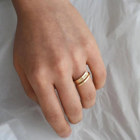 gold custom birthstone ring on ring finger - OurCoordinates