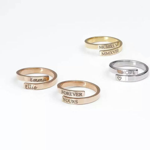 Engraved initial rings - Our Coordinates