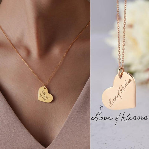 custom signature heart pendant necklace - OurCoordinates