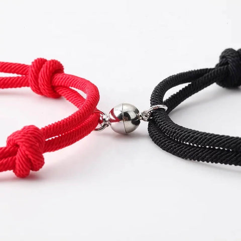 red and black magnetic bracelet for couples - Our Coordinates
