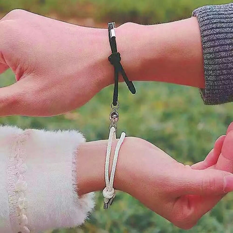 black and white magnetic charm bracelets connecting - OurCoordinates