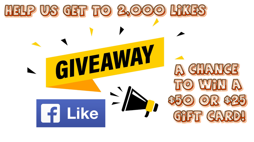 Help us reach 2,000 page likes for a chance to win some gift cards!