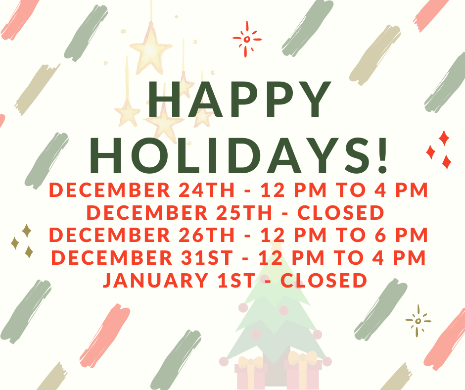 Holiday Hours for 2020