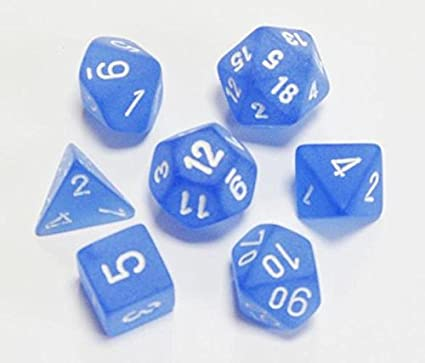 Frosted blue/white Polyhedral 7-die set