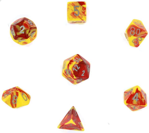 Gemini red-yellow w/silver Polyhedral 7-die set