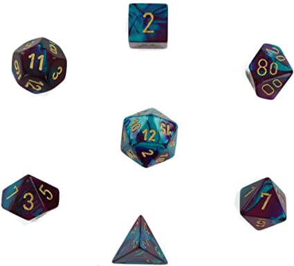 Gemini Purple-teal wl/gold Polyhedral 7-die set
