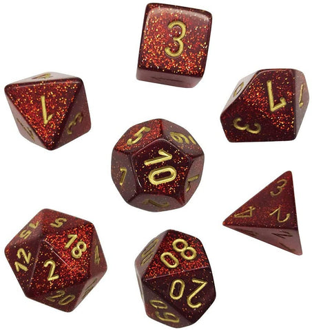 Glitter ruby red/gold Polyhedral 7-die set