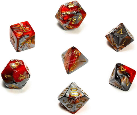 Gemini Orange-steel/gold Polyhedral 7-die set