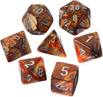 Lustrous gold/silver Polyhedral 7-die set