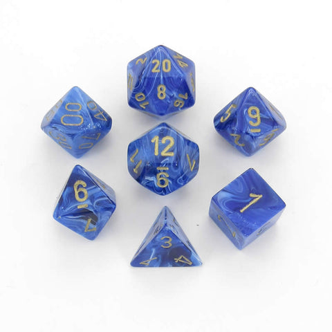 Vortex blue/gold Polyhedral 7-die set