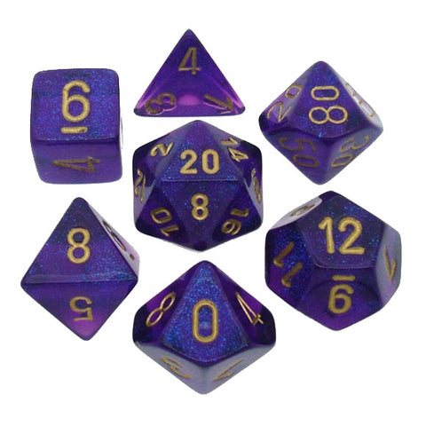 Borealis royal purple/gold Polyhedral 7-die set
