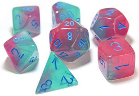 Gemini gel green-pink/blue Polyhedral 7-die set