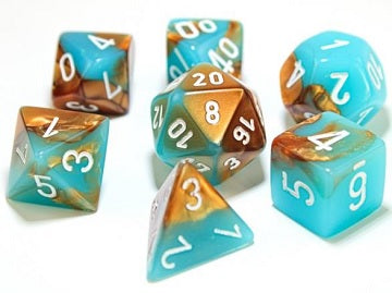 Gemini copper-turquoise/white Polyhedral 7-die set