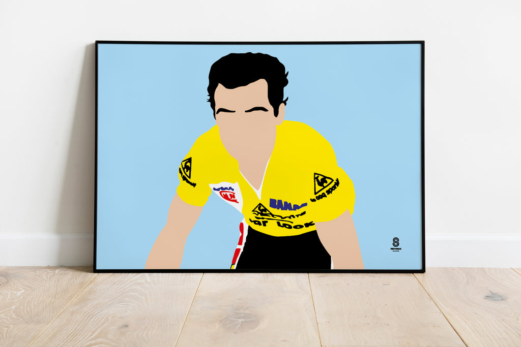 Bernard Hinault in Yellow - Retro Print