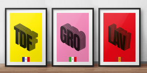 The Grand Tours Typographic - Tour De France, Vuelta a Espana and Giro d'Italia prints