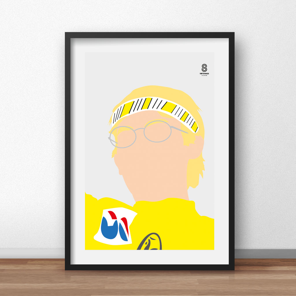 Laurent Fignon Portrait - Yellow Jersey Print