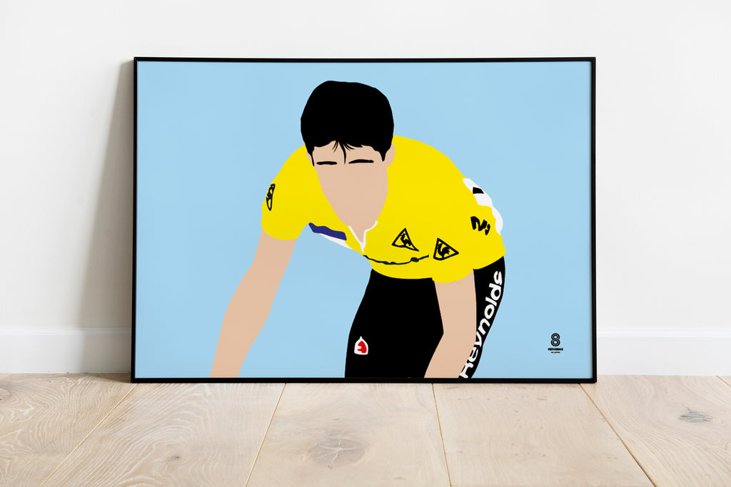 Pedro Delgado in Yellow - Retro Print