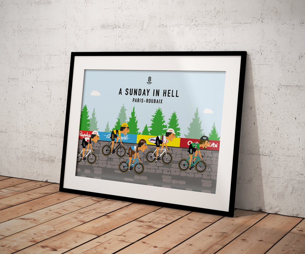 Paris Roubaix Peloton 'A Sunday in Hell' - Cycling Print