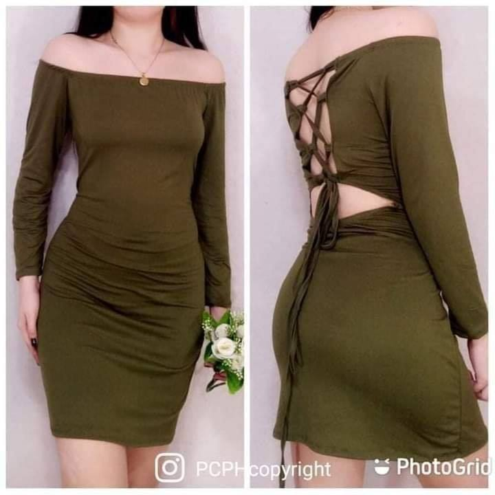 CHASTIE SEXYBACK OFFSHOULDER LONGSLEEVE DRESS