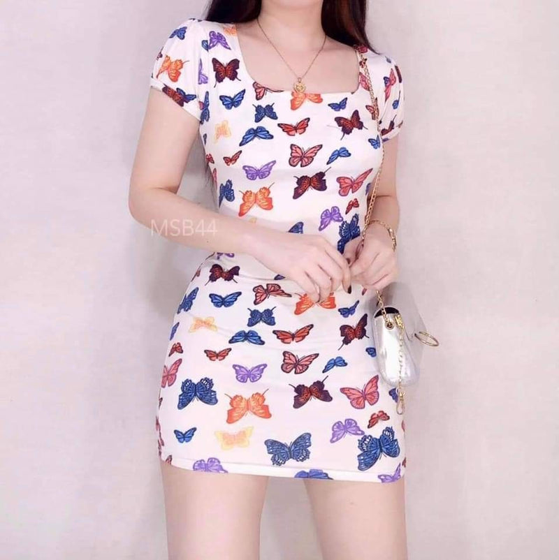 SQUARE NECK BUTTERFLY DRESS