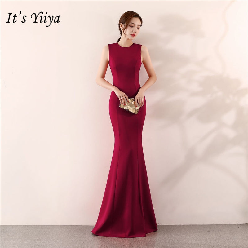 Elegant Floor-length Solid long Party Gown Prom dress