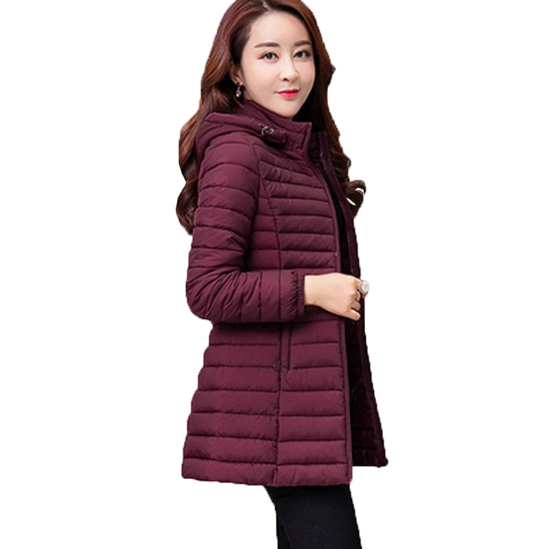 Women New Solid Hooded Outerwear Slim Cotton Jacket