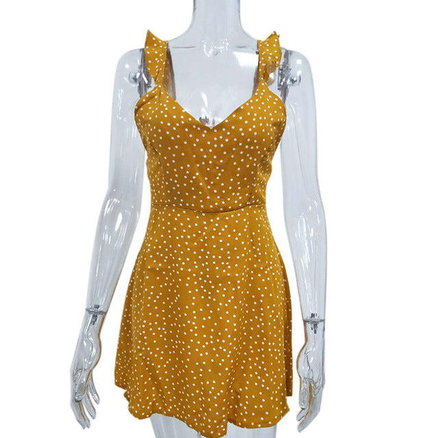 High Waist Dot Printing Mini Dresses