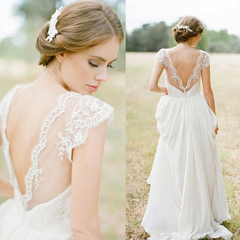 Bohemian A Lin Lace Chiffon Bridal Gowns dress