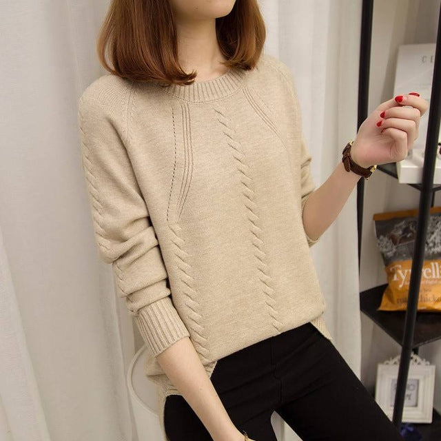 O-neck long-sleeved short paragraph bottoming shirt