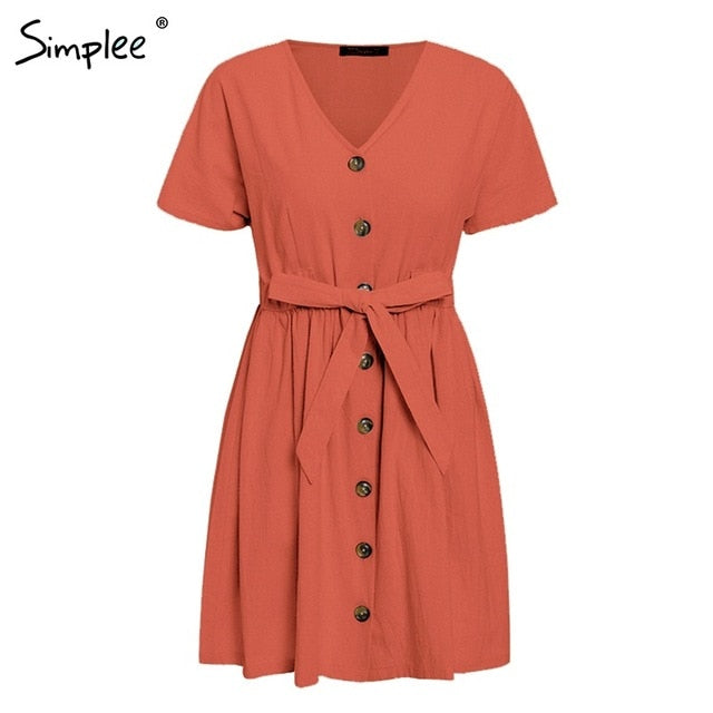 Vintage button V neck short sleeve dresses