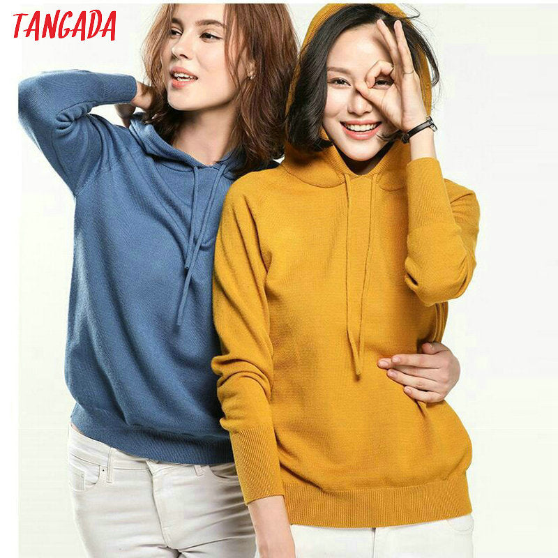 Fashion woman solid hooded sweater