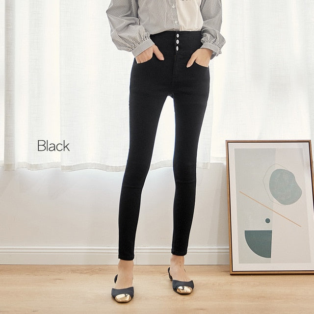 Button fly elastic waist legging jeans