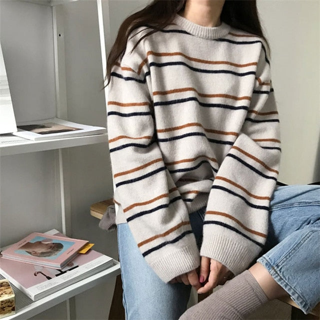 Women Soft Autumn O-Neck Sweaters