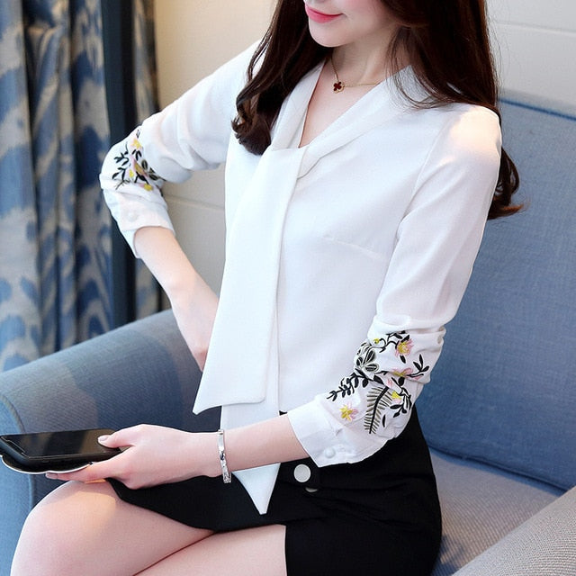 Long sleeve embroidery chiffon blouse tops