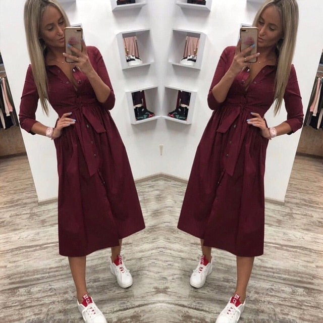 Women Casual Sashes a Line Party Dress
