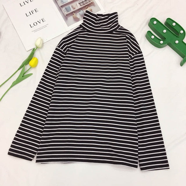 New Korean Striped Turtleneck T-shirt For Women