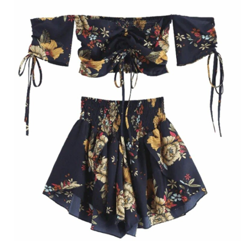 Off Shoulder Cinched Floral Women Set