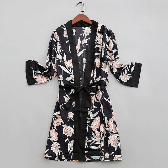 QWEEK 2019 New Summer Women Robe Set Thin Two Piece Sexy Cardian Satin Night Dress Lounge Silk Sleepwear Women Nightwear Set